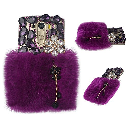 (Spritech(TM Bling Phone Case for LG G3 Mini,3D Handmade Purple Crystal Silver Flower Pendant Accessary Design Clear Cellphone Cover)