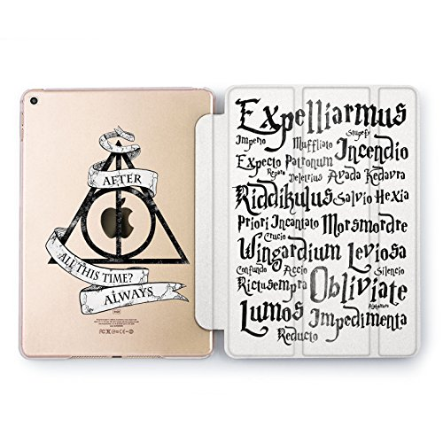 Wonder Wild Expelliarmus Print Case IPad 9.7 2017 A1822 A1823 2018 A1893 A1954 Air 2 A1566 A1567 6th Gen Clear Design Smart Hard Cover Harry Potter and Deathly Hallows Always Wizard Hogwarts Unique]()