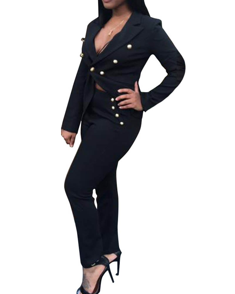 Damen Blazer Kurz Elegant Jacke Mantel Outwear Tops + Skinny Hosen