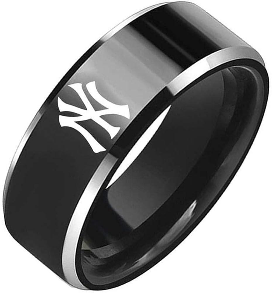 Sping Jewelry New York Yankees Baseball Team Ring Black Titanium Steel Sport Band Size 5-13