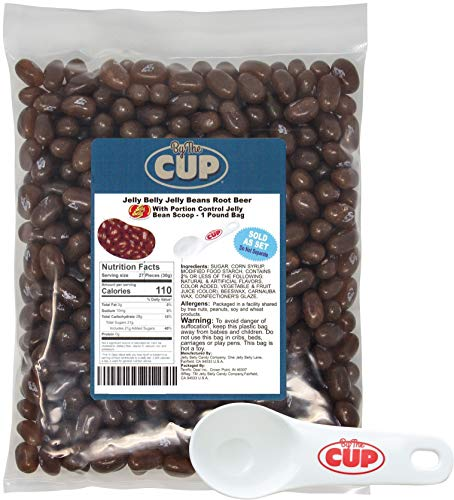 - Jelly Belly Jelly Beans Bulk A & W Root Beer 1 Pound Bag - with By The Cup Portion Control Jelly Bean Scoop