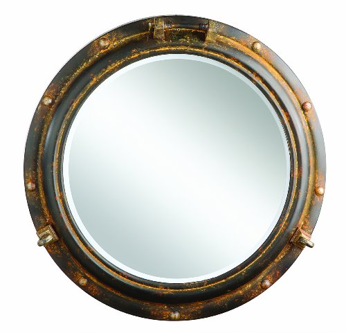 ole Mirror, Rust Metal (Chrome Porthole Mirror)