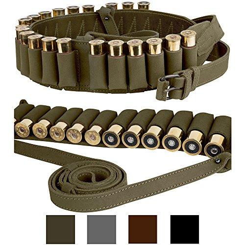 BronzeDog Handmade Leather Shotgun Shell Cartridge Belt Holder Bandolier, Buttstock Shell Holder 12 Gauge for Rifles, Hunting Ammo Pouch Bag, 12 ga Shotgun Shell Pouch Black Brown Khaki Grey (Khaki)