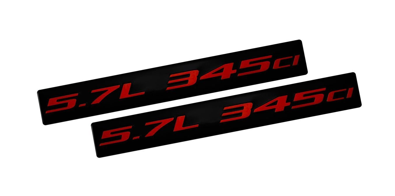 2x (Pair / Set) 5.7L 345ci RED on BLACK Highly Polished Real Aluminum EMBLEMS (set of 2)