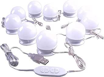 اضواء LED جميلة مراة اضاءة بثلاث درجات مصابيح LED تعمل بالكهرباء ومنفذ USB