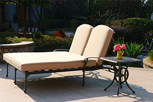 iPatio Athens 2 Piece Outdoor Patio Synthetic Adjustable Gun Metal Aluminum Pool Double Chaise Chair Set with Cushions, 21 Inch End Table (Beige Cushions) ()