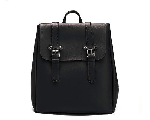 Dalùstore - Bolso mochila de Cuero para mujer Negro Negro 28 x 16 x 31 cm: Amazon.es: Zapatos y complementos