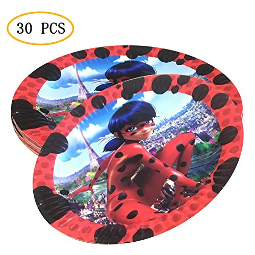 (Party Nice Miraculous Ladybug Party Supply Pack - Miraculous Ladybug 7 inch Party Plate)