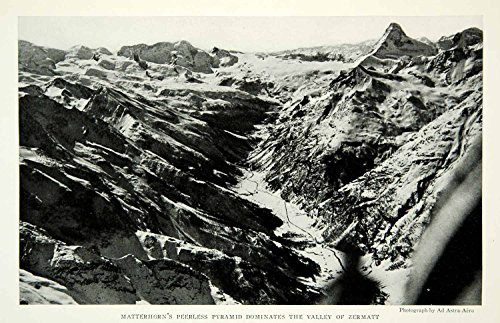 1932 Print Matterhorn Mountain Landscape Zermatt Valley Switzerland Image NGM9 - Original Halftone - Images Zermatt