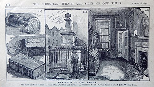 John Wesley, 1800's B&W Illustration, Print art (mementoes of John Wesley...first conference seal, Bible, tomb, room he died in) Very Rare Authentic oringial vintage 1891 Christian Herald Magazine Art