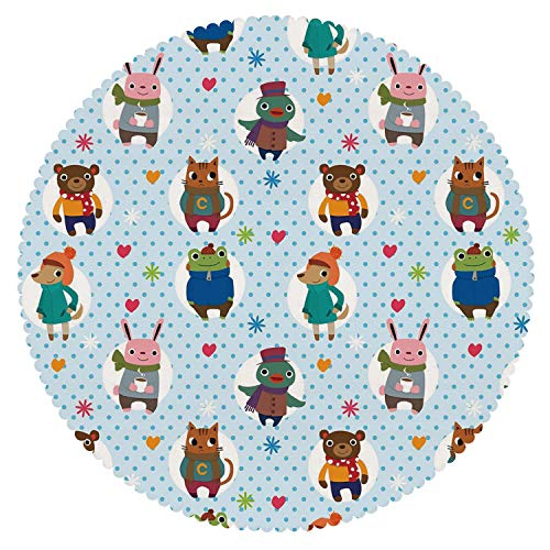 Durable Round Tablecloth [ Nursery,Collection of Animals with Winter Clothing Hats Hot Coffee on a Dotted Background Decorative,Multicolor ] Fabric Home Set - Barcelona Collection Coffee Table