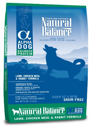 Natural Balance Alpha Grain-Free Lamb, Chicken Meal, and Rabbit Formula for Dogs, 25-Pound Bag, My Pet Supplies
