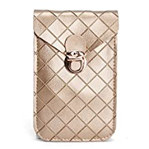 Fashion Diamond Plaid Two Layers Separated PU Leather Mini Crossbody Shoulder Pouch Purse Travel Cellphone Bag for Apple iPhone 6/6S,6/6S Plus,5S/5C,Samsung Galaxy S6,S6 Edge+,S6 Edge/Note5/4 (Golden)