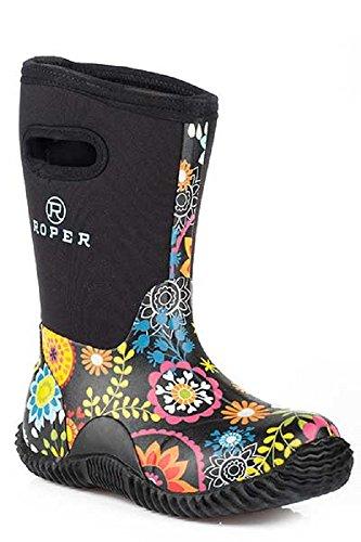Roper Child's Kids Size 2 Rubber FLOWER GARDEN Printed Tall Waterproof Rubber Barn Muck Boots (Muck Tack)