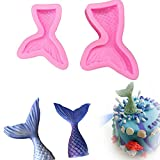 Mermaid Tail Molds 2Pcs/set, KOOTIPS Silicone Cake Gum Paste Chocolate Fondant Mould Candy Mold, Jelly Pastry Sugarcraft Cake Decorating Tools Large + Small Color