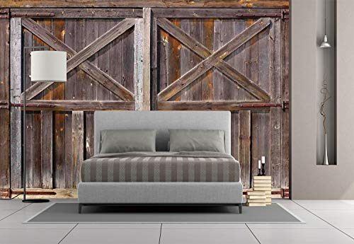 Large Wall Mural Sticker [ Rustic,Old Wooden Barn Door of Farmhouse Oak Countryside Village Board Rural Life Photo Print,Brown ] Self-Adhesive Vinyl Wallpaper/Removable Modern Decorating Wall Art