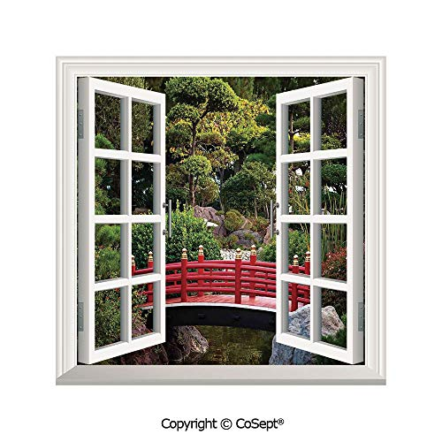 SCOXIXI Removable Wall Sticker,Tiny Bridge Over Pond Japanese Garden Monte Carlo Monaco Along with Trees and Plants Decorative,Window Sticker Can Decorate A Room(26.65x20 inch)