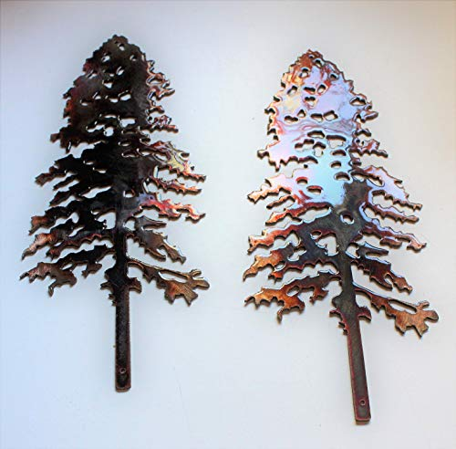 (Pine Tree Pair Metal Wall Art Decor Accent Each measures 10