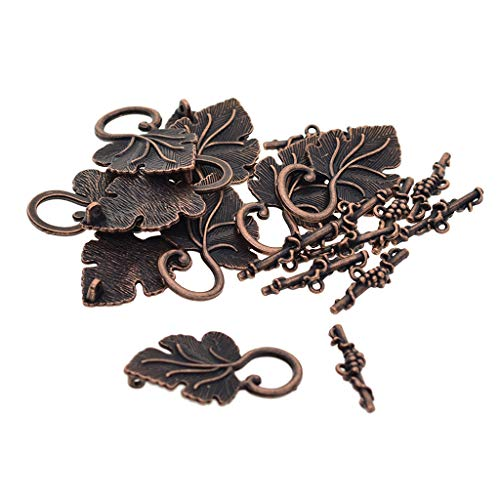 Toggle Bracelet Leaf - Prettyia 10 Sets Antique Gold/Bronze/Tibetan Silver Leaf Shape Toggle Clasps for Jewelry Making Bracelets End Clasp Findings - Platinum