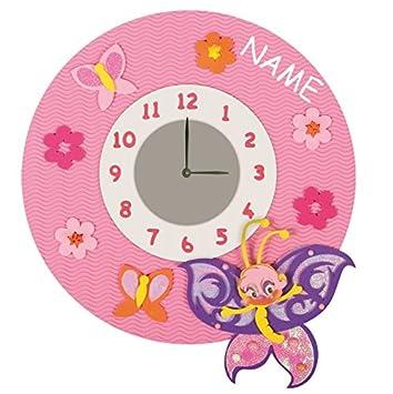 Kinderzimmer ideen für mädchen schmetterling  Bastelset 3-D Uhr / elektrische Wanduhr - incl. NAME ...