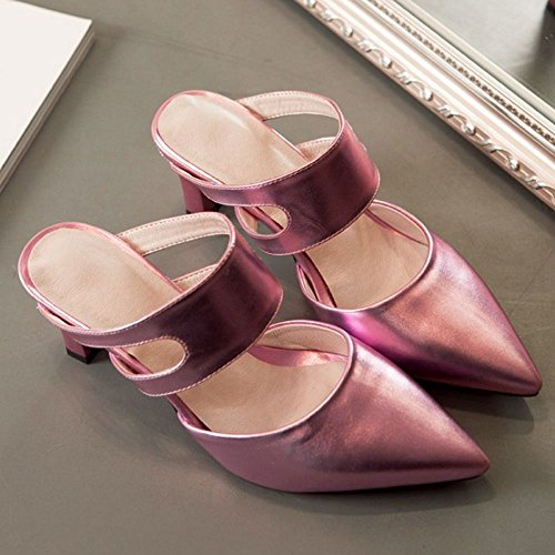 1 Women TAOFFEN Closed Pink Mules Summer Toe Shoes Heels 8qOZdqwz