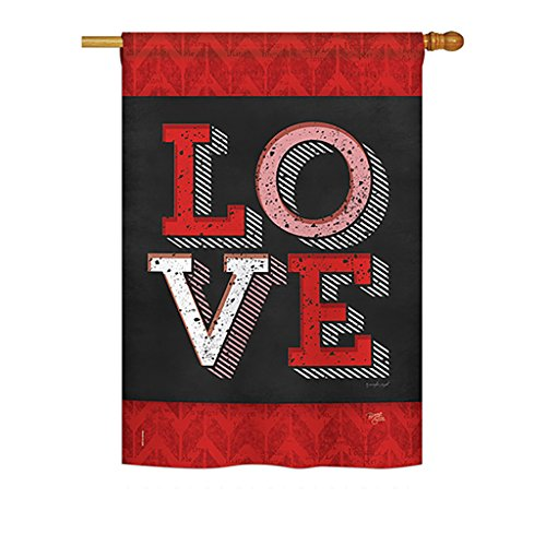 Breeze Decor H101059 Red Love Decorative Vertical House Flag, 28