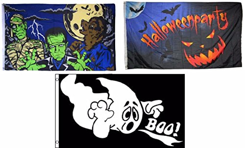 ALBATROS 3 ft x 5 ft Happy Halloween 3 Pack Flag Set #8 Combo Banner Grommets for Home and Parades, Official Party, All Weather Indoors Outdoors