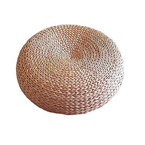 (Layboo Handcrafted Eco-Friendly Breathable Padded Knitted Straw Flat Seat Cushion/Straw futon Cushion (Steel Frame 40cm(15.75 in)))