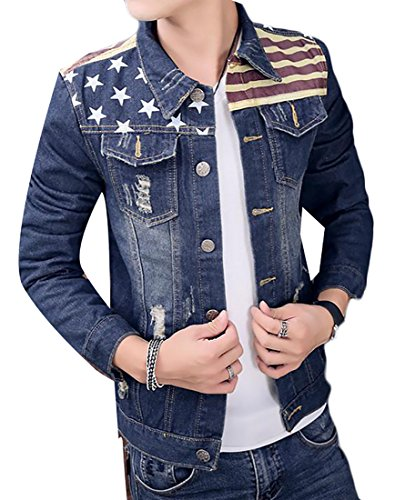 [Fulok Men's Slim America Flag Print Ripped Casual Denim Jacket Coat Blue L] (Mens Denim Jacket Coat)