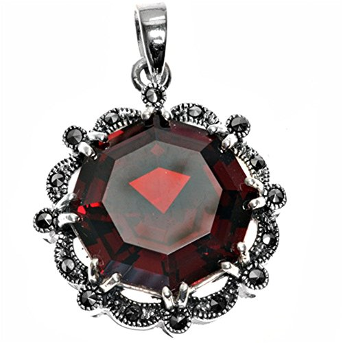 Pendant Simulated Ruby Simulated Marcasite .925 Sterling Silver Charm - Silver Jewelry Accessories Key Chain Bracelet Necklace Pendants