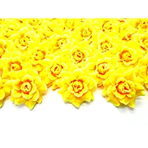 "Silk Yellow Roses Flower Head - 1.75"" - Artificial Flowers Heads Fabric Floral Supplies Wholesale Lot for Wedding Flowers Accessories Make Bridal Hair Clips Headbands Dress 85"