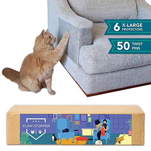 Claw Stopper Furniture Protectors From Cats - 7 Piece Set - Couch Protector from Cats - Cat Scratch Deterrent for Furniture - Couch Cat Scratch Guards - Cat Repellent Indoors - Cat Furniture Protector (Best Couch Material For Cats With Claws)