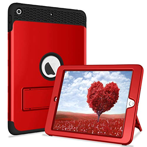 New iPad 9.7 2017/2018 Case with Kickstand, 3 in 1 Heavy Duty Shockproof Defender Hybrid Rubber Protective Hard Cover for iPad 5th/6th Generation Model A1822/A1823/A1893/A1954 (Red Black)