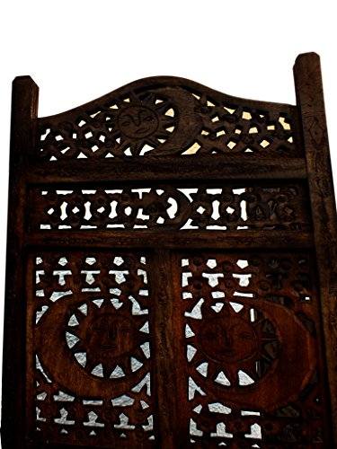 TUP The Urban Port BM34821 Hand Carved Sun and Moon Design Foldable 4-Panel Wooden Partition Screen/Room Divider, Brown