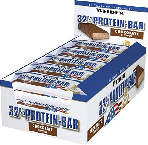 Weider 32% Protein Riegel - 24 Riegel x 60g - High Protein Low Fat Great Geschmack (Chocolate)