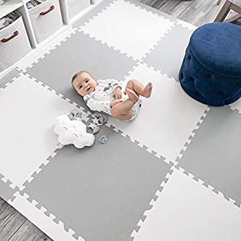 Image of Baby Play Mat Tiles Extra Large Thick Foam Floor Puzzle Mat Interlocking Playmat for Infants Toddlers Kids Babies Crawling Tummy Time 74' x 74' (Grey/White) Baby