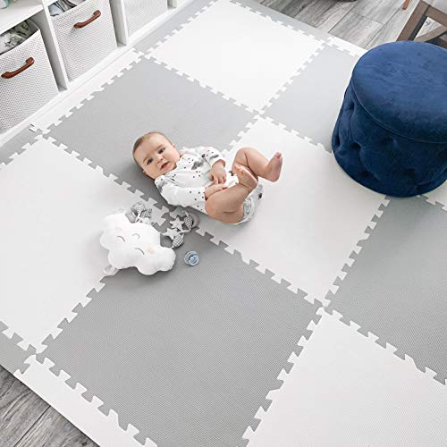 Baby Play Mat Tiles Extra Large Thick Foam Floor Puzzle Mat Interlocking Playmat for Infants Toddlers Kids Babies Crawling Tummy Time Grey White 74 x 74