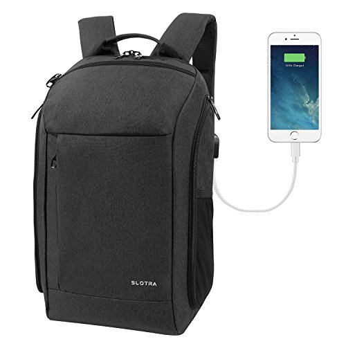 "SLOTRA Carry on Travel Backpack 25L with Laptop Compartment and USB Charging Port Laptop Rucksack for 15.6"" Notebook Black"