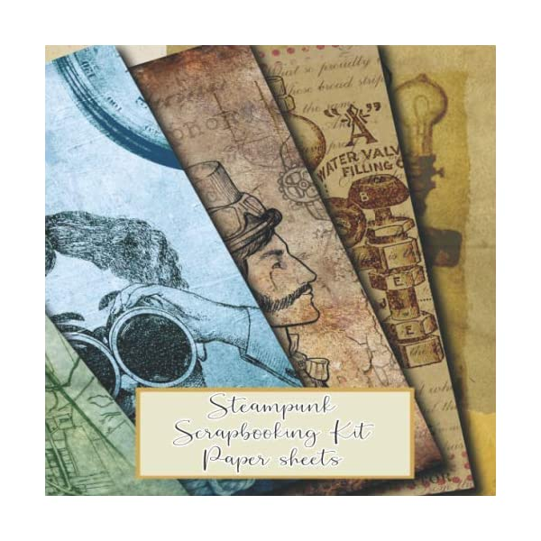 Steampunk scrapbooking kits paper sheets: Scrapbooking kit in a book for creating your own sketchbooks - Emphera elements for decoupage, journaling, ... scrap book albums (Scrap book paper kits) 3