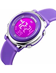 Kids Digital Waterproof Watch for Girls Boys, Sport Outdoor LED Electrical Watches with Luminescent Alarm Stopwatch Child Wristwatch - Purple