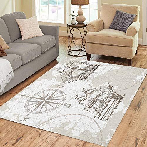 Map Of Sea Floor - Pinbeam Area Rug Nautical Sea Map Compass and Sailing Ship Perfect Home Decor Floor Rug 5' x 7' Carpet
