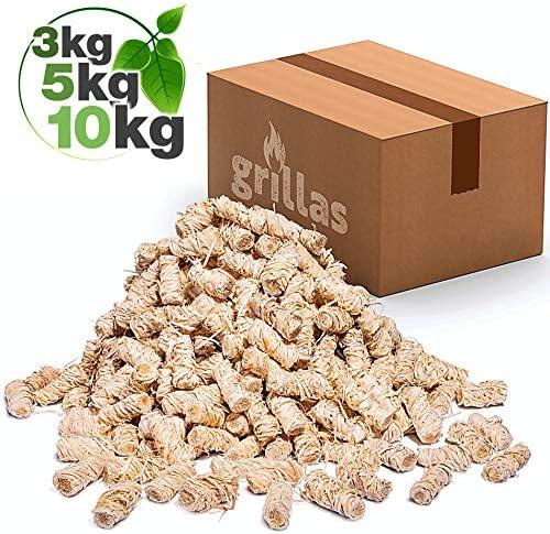grillas Bio-Kaminanzünder und Grillanzünder 3 kg aus Holzwolle, in Wachs getränkt | Kohleanzünder | Wachsanzünder | Anzündwolle | Anzündhilfe | ohne Rückstände