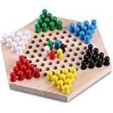 """Sumnacon Chinese Checkers Game With Wooden Marbles - 9"""" Hexagon Superb Family Board Games, Cultivate Thinking Ability, Stimulate Potential and Enhance Cooperation Skills Game"""
