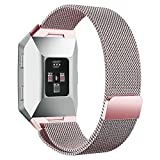 hooroor for Fitbit Ionic Bands Small and Large for Women Men, Fully Magnetic Closure Clasp Mesh Loop Milanese Stainless Steel Metal Band (Rose Pink Small)