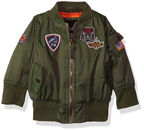 iXtreme Baby Boys Midweight Bomber with Patches, Olive, 24M