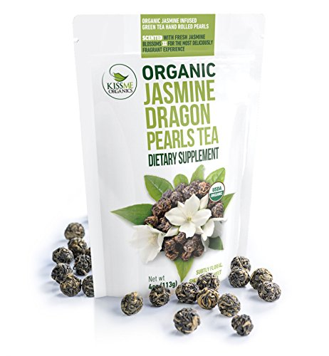 Jasmine Dragon Pearls Tea - Premium Flavor 100% Organic Green Tea Jasmine Pearls Loose Leaf Tea Hand Rolled - 4 ounces/ 113 grams