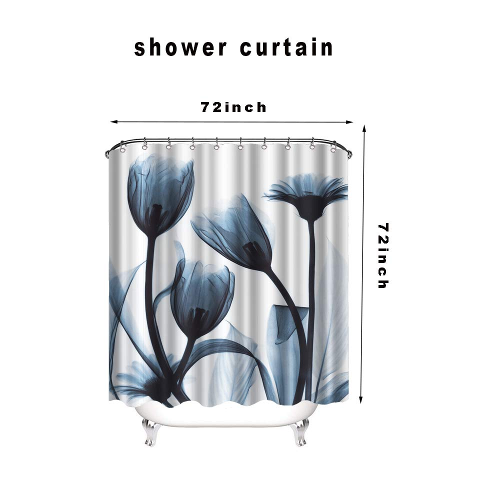 VividHome 4PCS Shower Curtain Sets with Non-Slip Rugs Bathroom Mats Set Full Moon Over Ocean Landscape Polyester Shower Curtain with 12 Hooks Toilet Lid Cover and Bath Mat