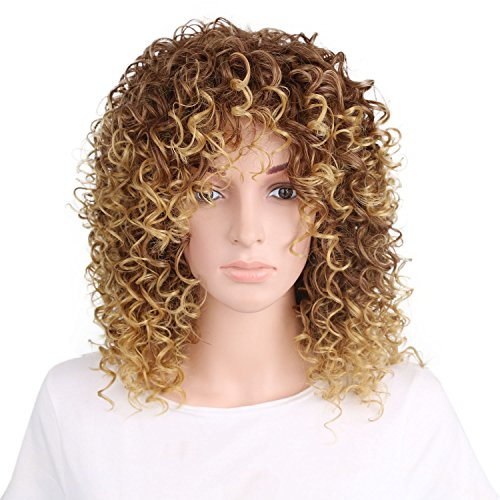 Tsnomore 16 Inches Long Afro Kinky Curly Wigs for Black Women Blonde Mixed Brown Synthetic Wigs African Hairstyle (Brown) (Wigs Ladies Long Curly)
