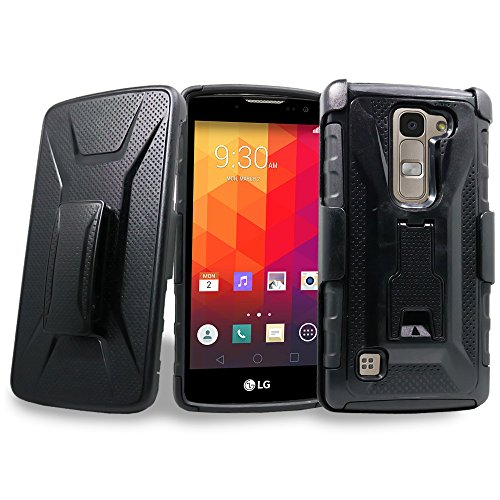LG Escape 2 Case, LG Spirit 4G LTE Case, LG Logos Case, Mstechcorp [Heavy Duty] Armor Shock Proof [Swivel Belt Clip] Holster with [Kickstand] Case