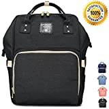Wide Open Designed Baby Diaper Bag Backpack with Insulated Bottle Pockets, Travel Backpack Nappy Bags, Waterproof Material, Multi-Function 11 Pockets, Large Capacity, Stylish and Durable (Black)